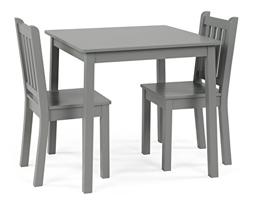Humble Crew, Grey Kids Wood Table and 2 Chairs Set, Square
