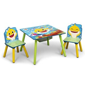 Baby Shark Kids Table and Chair Set with Storage (2 Chairs Included) - Ideal for Arts & Crafts, Snack Time, Homeschooling, Homework & More by Delta Children