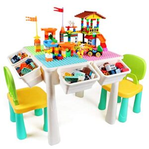 GobiDex 7 in 1 Multi Kids Activity Table Set with 2 Chairs and 230 Pcs Large Size Blocks Compatible with Classic Blocks.Water Table,Sand Table and Building Blocks Table for Toddlers Activity