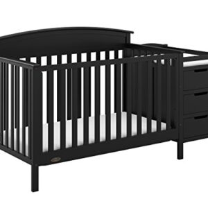 Graco Benton 4-in-1 Convertible Crib and Changer, Black, Solid Pine and Wood Product Construction, Converts to Toddler Bed or Day Bed (Mattress Not Included),Black,83.0pounds
